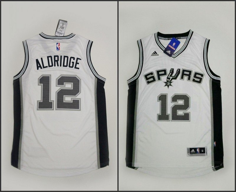 NBA San Antonio Spurs 12 LaMarcus Aldridge White 2015 Jerseys