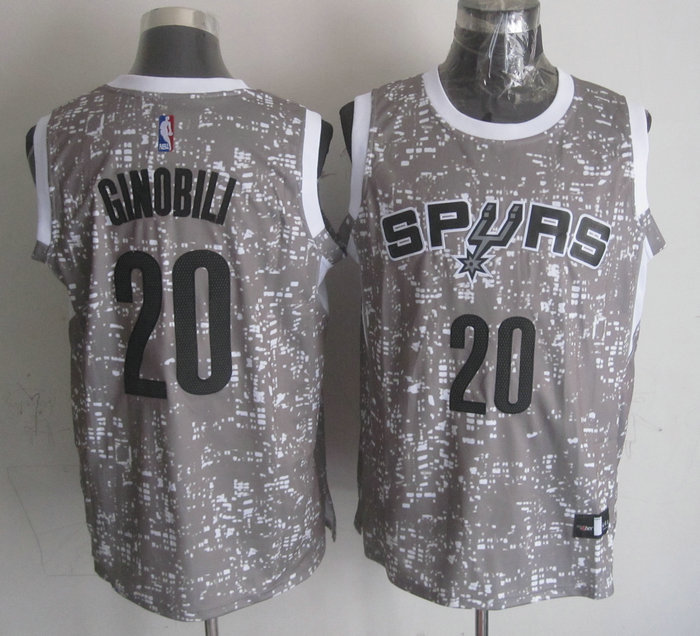 NBA San Antonio Spurs 20 ginobili Grey New National Flag Star Jersey