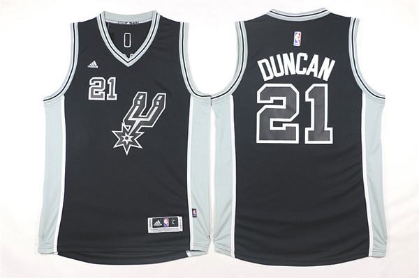 NBA San Antonio Spurs 21 Tim Duncan Black 2015 Jerseys