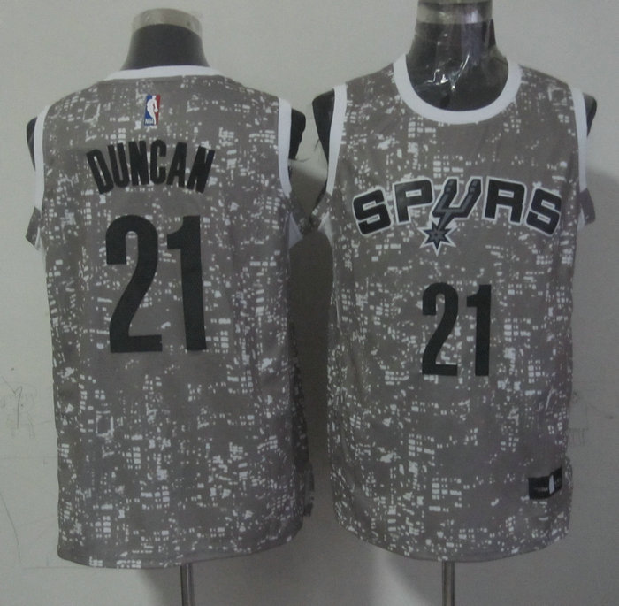 NBA San Antonio Spurs 21 duncan grey New National Flag Star Jersey