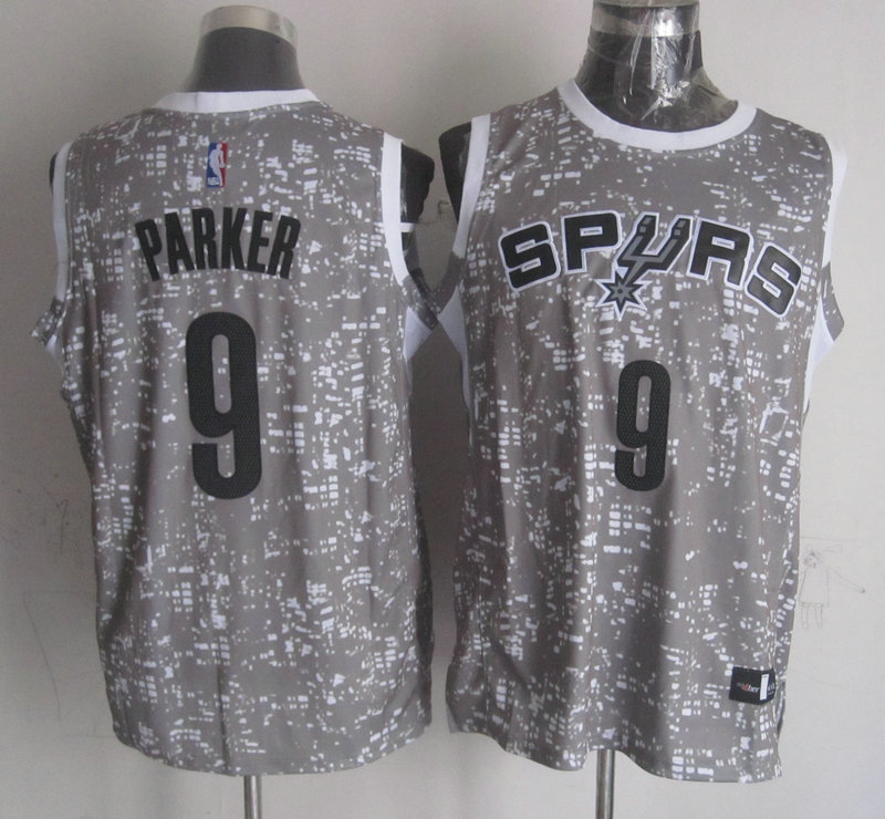 NBA San Antonio Spurs 9 parker grey New National Flag Star Jersey.