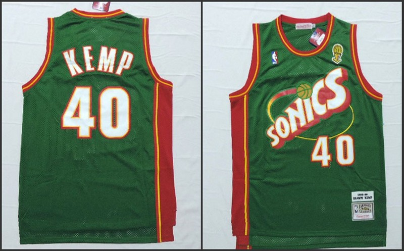 NBA Seattle SuperSonics 40 Shawn Kemp Green 2015 Jerseys