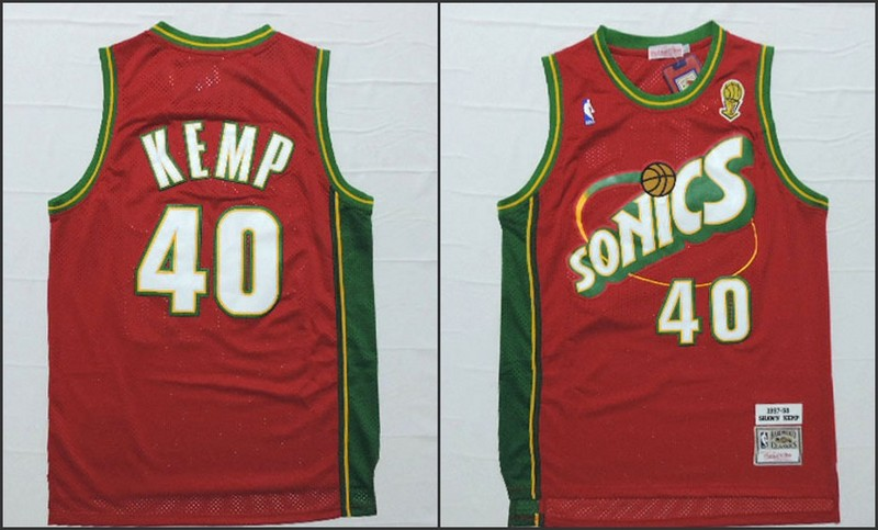 NBA Seattle SuperSonics 40 Shawn Kemp Red 2015 Jerseys