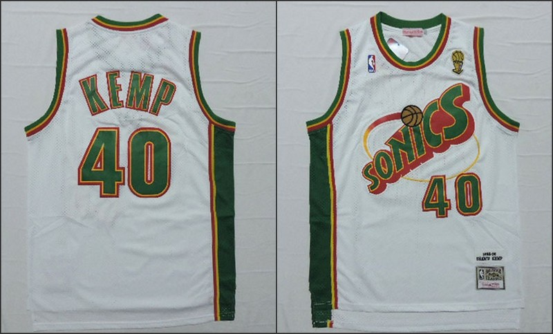 NBA Seattle SuperSonics 40 Shawn Kemp White 2015 Jerseys