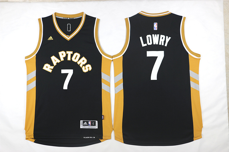 NBA Toronto Raptors 7 Kyle Lowry Black Yellow 2015 Jerseys