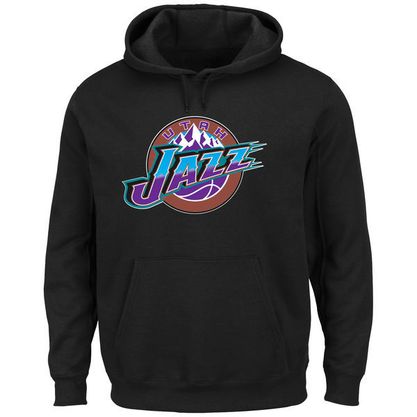 NBA Utah Jazz Majestic Hardwood Classics Tech Patch Pullover Hoodie - Black