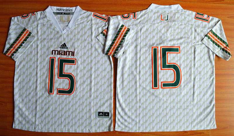 NCAA Miami Hurricanes 15 Brad Kaaya White Football Jerseys.