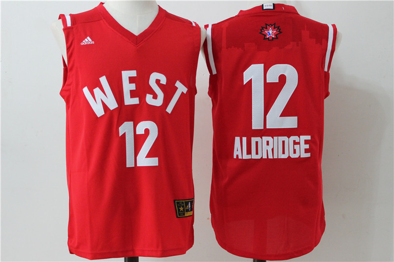 San Antonio Spurs 12 LaMarcus Aldridge Red 2016 NBA All Star jerseys