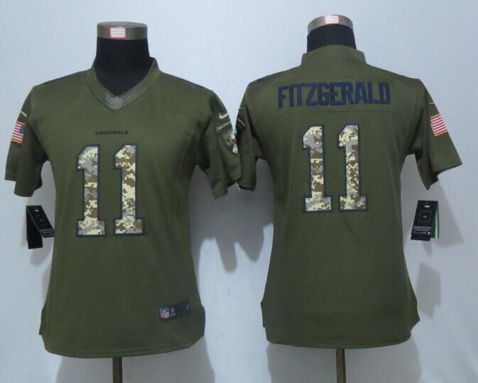 Women New Nike Arizona Cardinals 11 Fitzgerald Green Salute To Service Limited Jersey