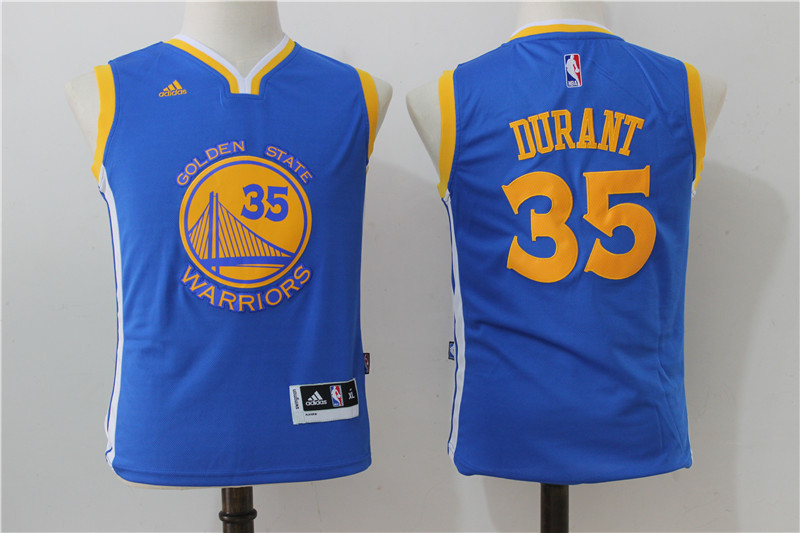 Youth 2016 NBA Golden State Warriors 35 Kevin Durant Blue Jerseys