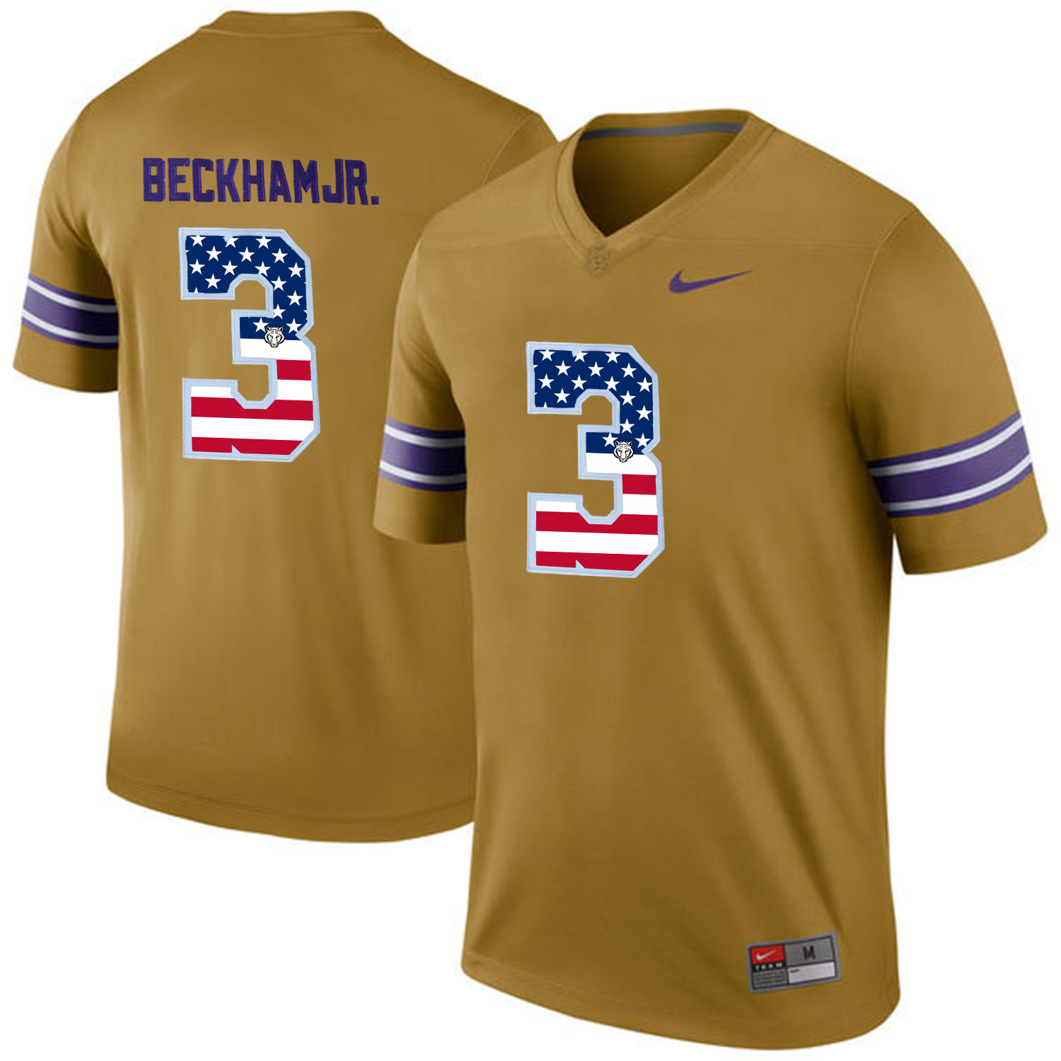 US Flag Fashion Men LSU Tigers Odell Beckham Jr. 3 College Football Limited Throwback Legand Jersey Gridiron Gold
