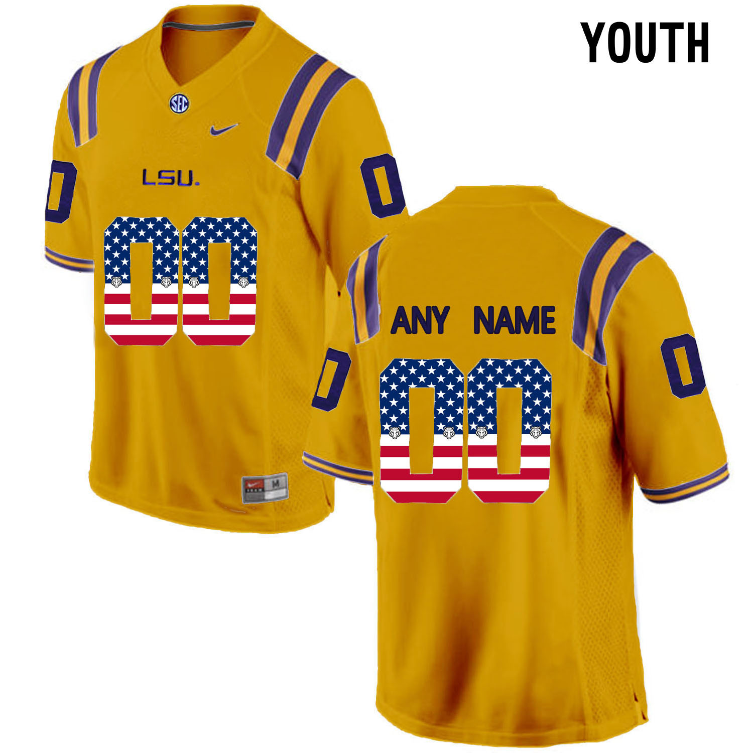 US Flag Fashion Youth LSU Tigers Customized College Football Limited Jersey Gold