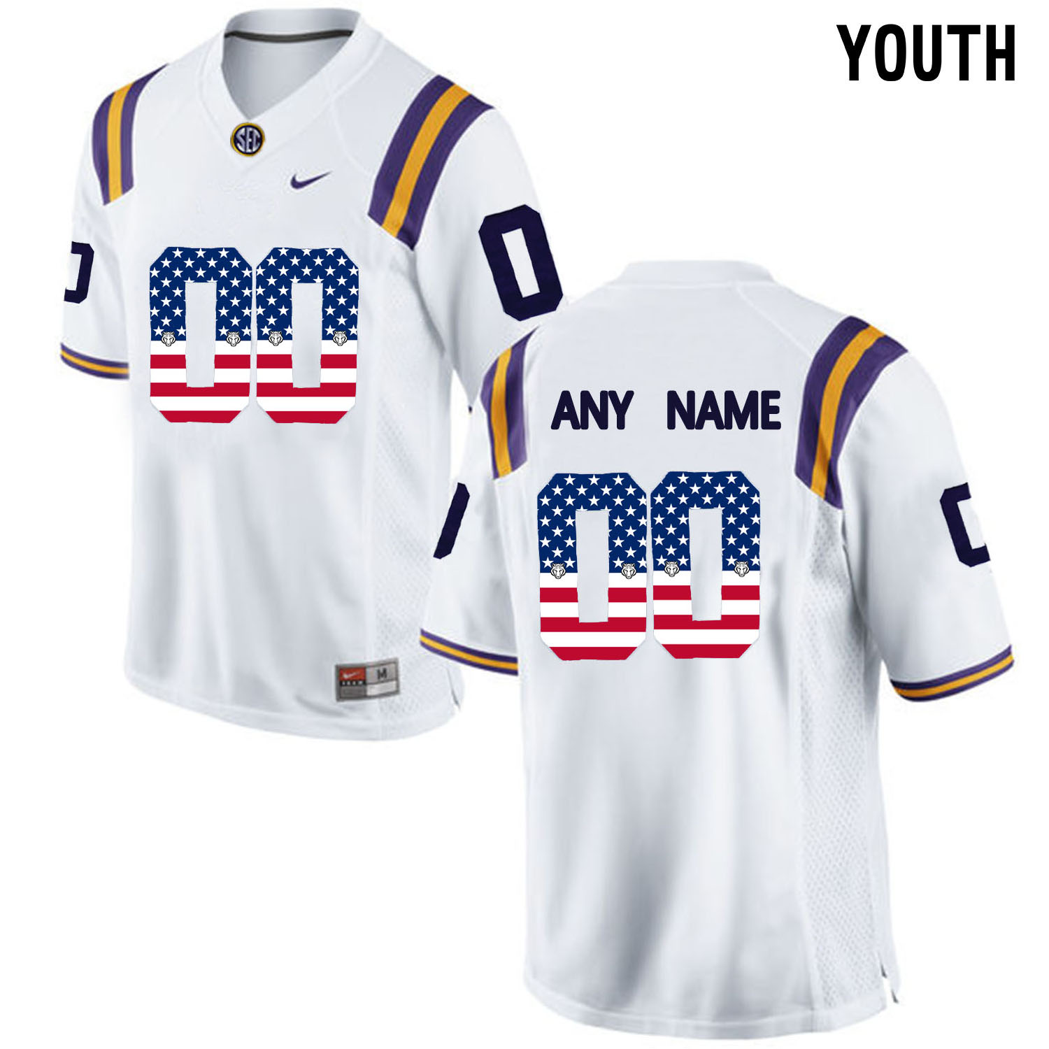 US Flag Fashion Youth LSU Tigers Customized College Football Limited Jersey White