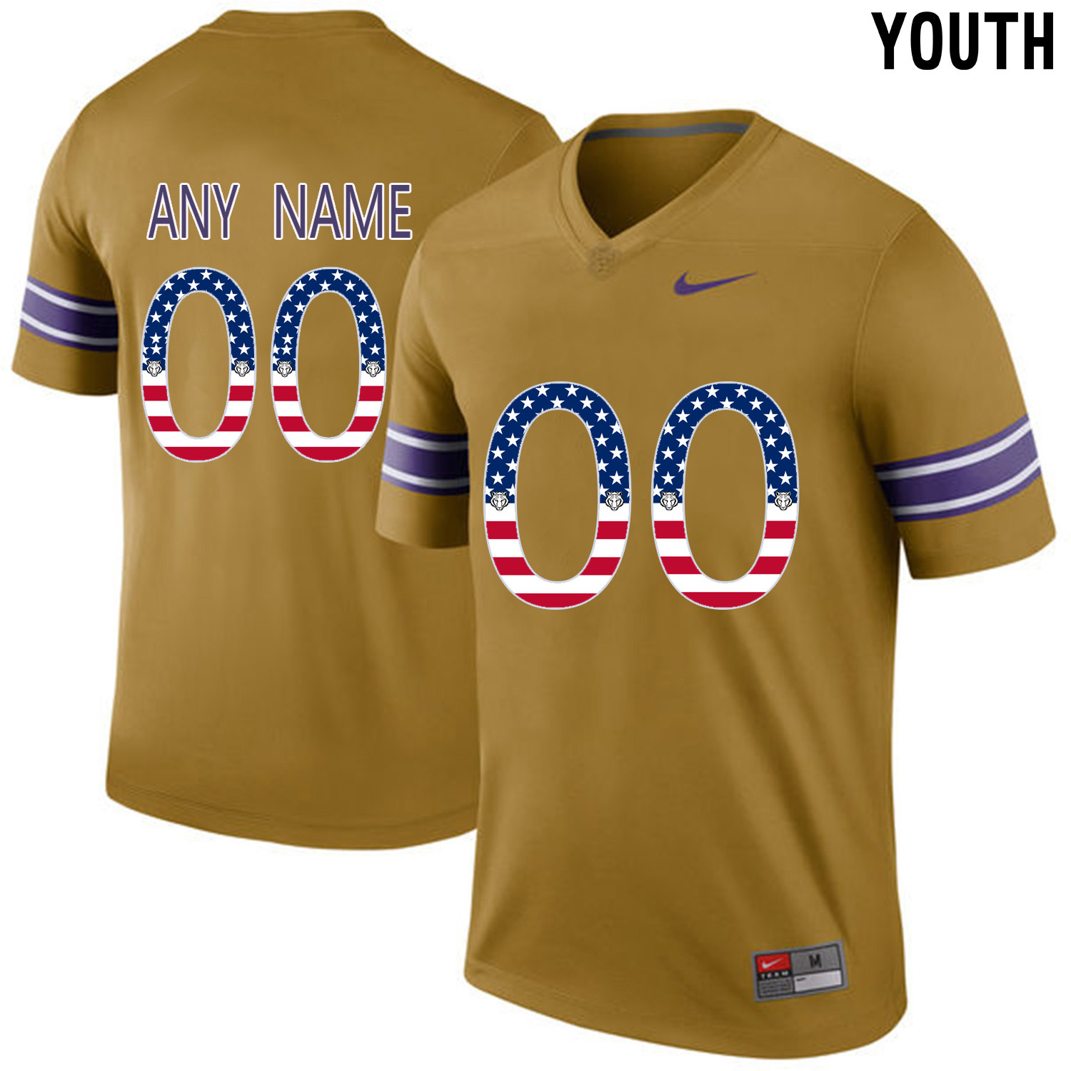 US Flag Fashion Youth LSU Tigers Customized College Football Limited Throwback Legand Jersey Gridiron Gold