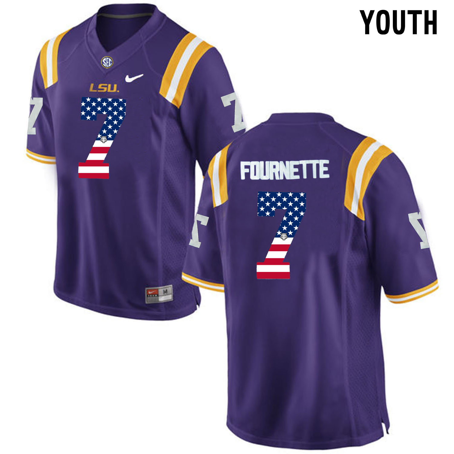US Flag Fashion Youth LSU Tigers Leonard Fournette 7 College Football Limited Jersey Purple