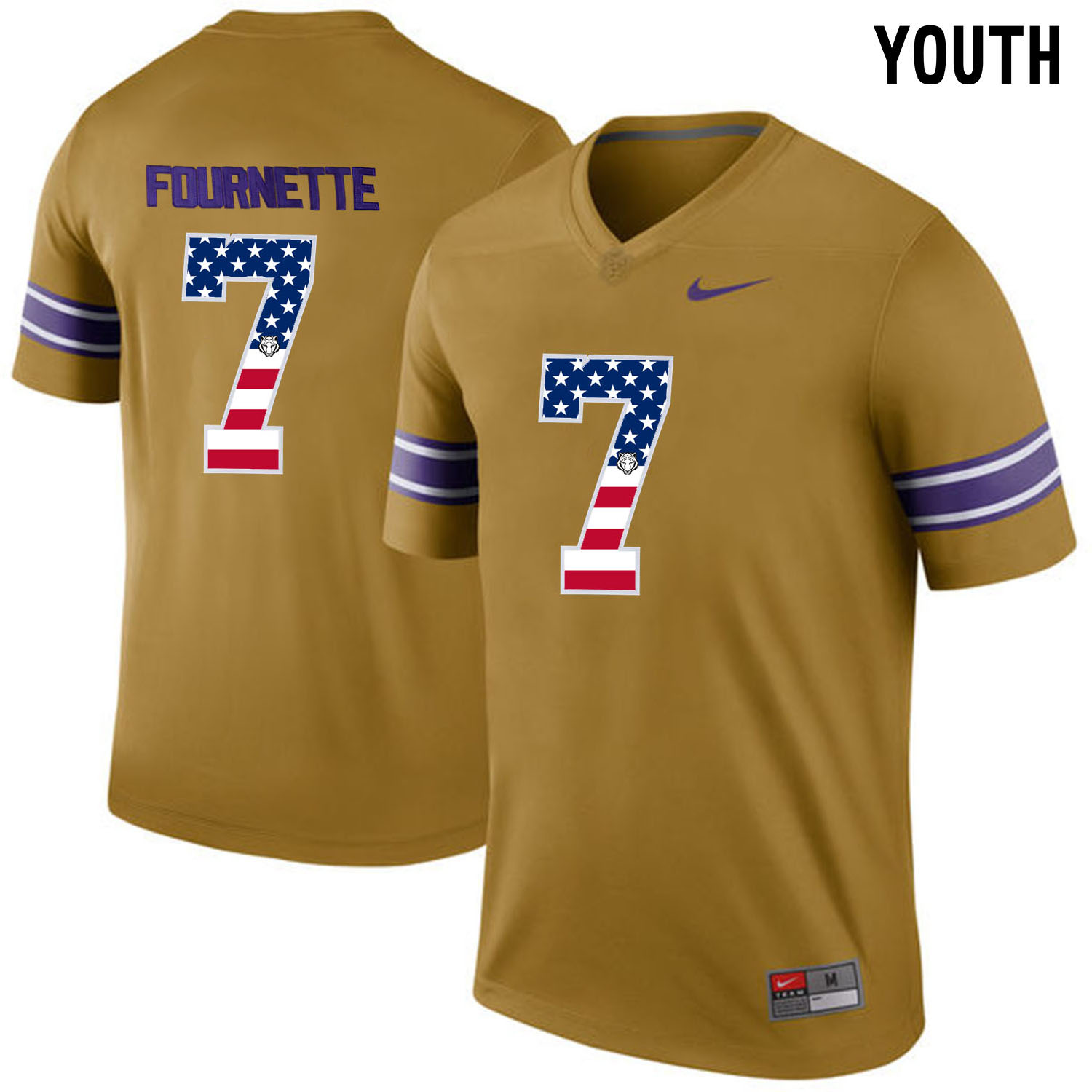 US Flag Fashion Youth LSU Tigers Leonard Fournette 7 College Football Limited Legand Jersey Gridiron Gold