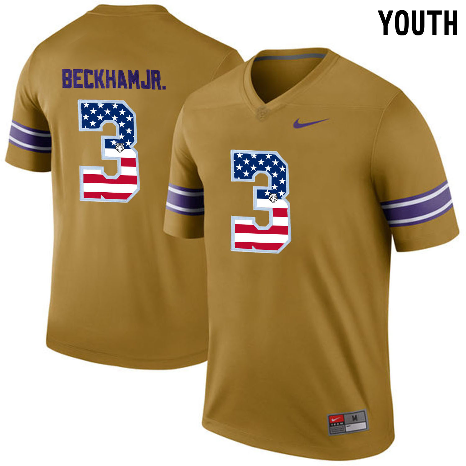 US Flag Fashion Youth LSU Tigers Odell Beckham Jr. 3 College Football Limited Throwback Legand Jersey Gridiron Gold