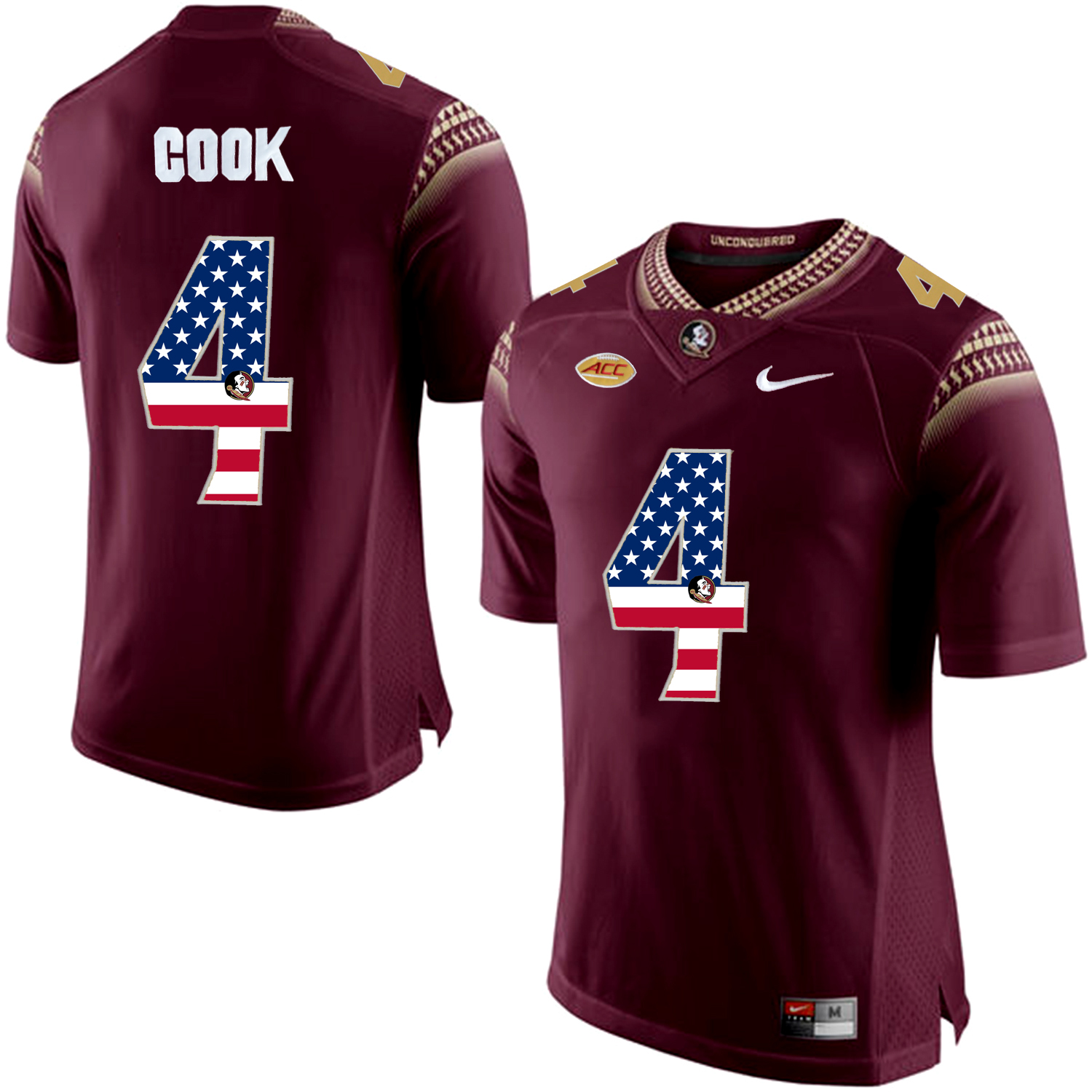 US Flag Fashion Men Florida State Seminoles Dalvin Cook 4 College Football Limited Jersey Red