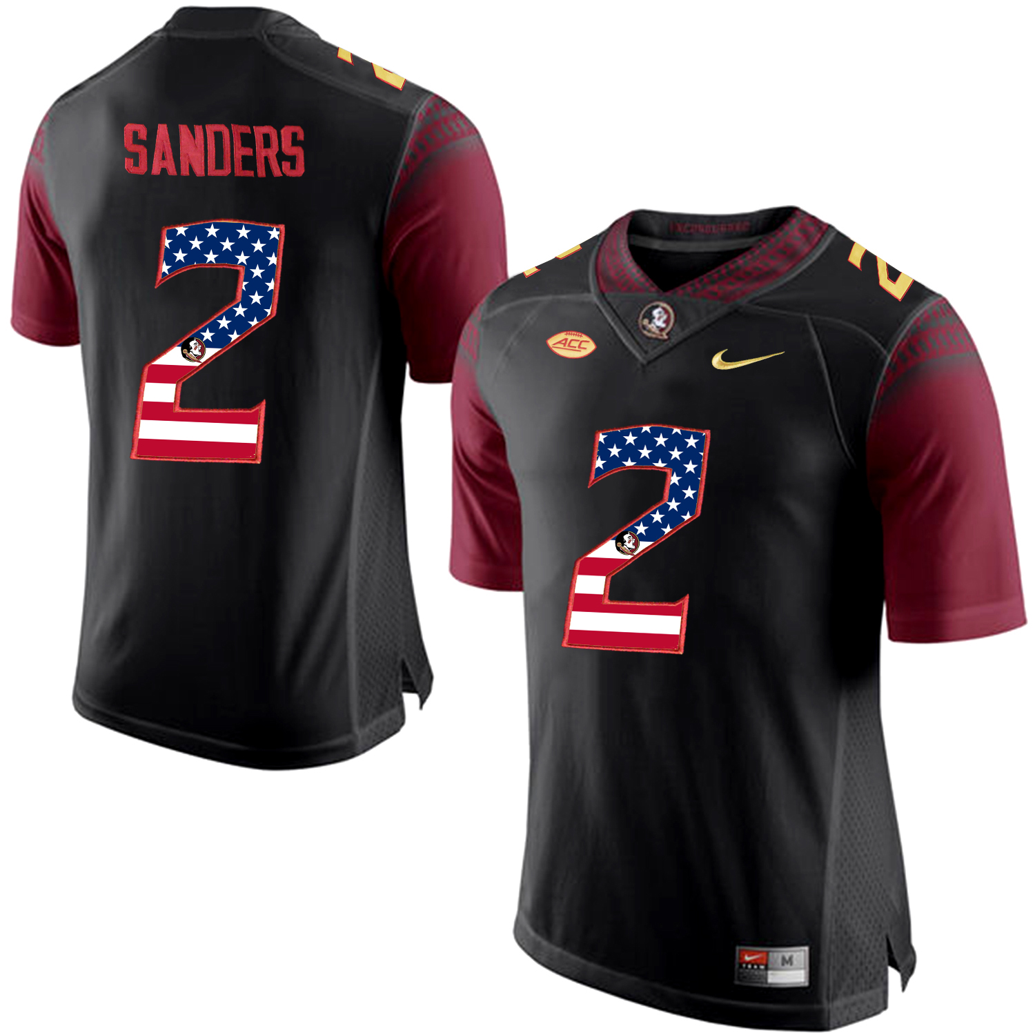 US Flag Fashion Men Florida State Seminoles Deion Sanders 2 College Football Limited Jersey Black