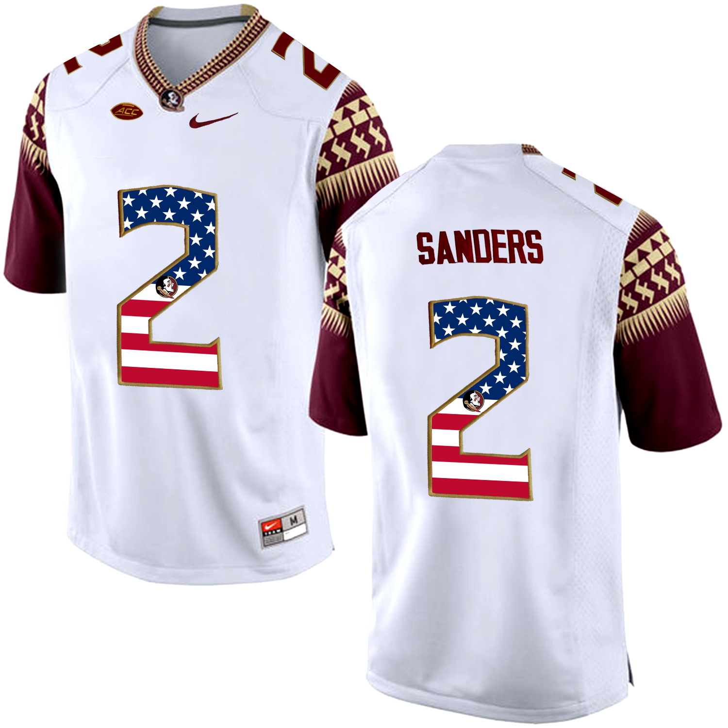 US Flag Fashion Men Florida State Seminoles Deion Sanders 2 College Football Limited Jersey White