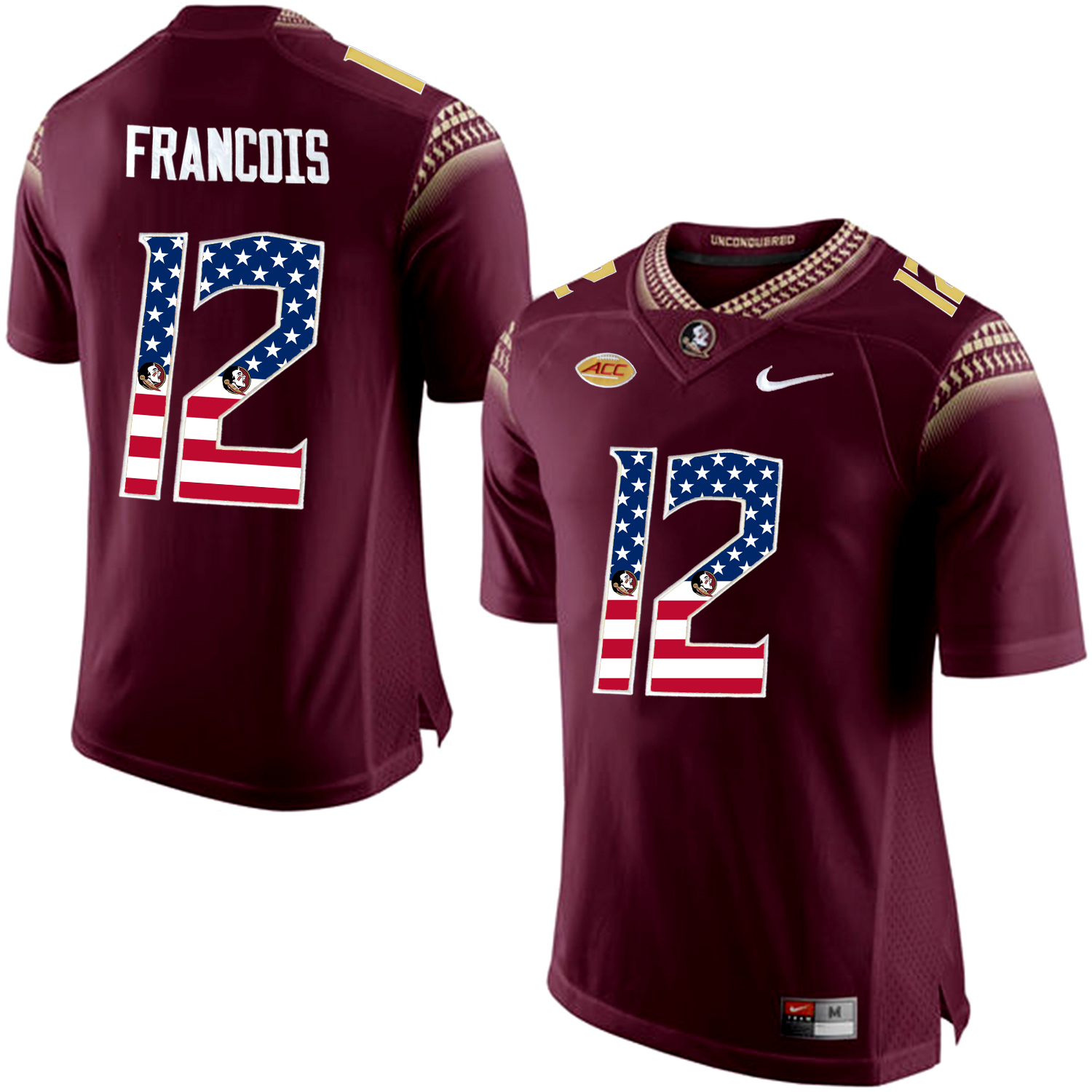 US Flag Fashion Men Florida State Seminoles Deondre Francois 12 College Football Jersey Red