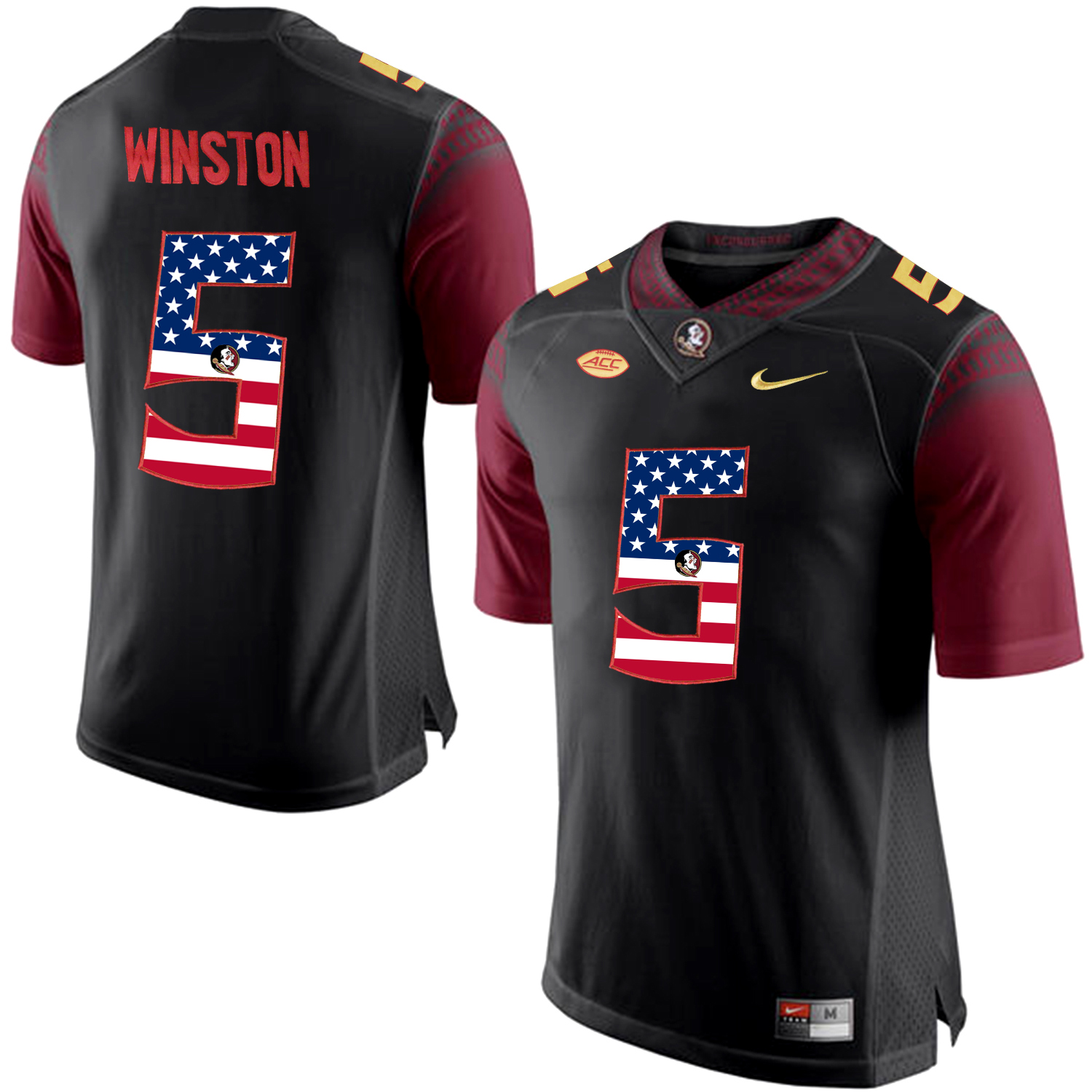 US Flag Fashion Men Florida State Seminoles Jameis Winston 5 College Football Limited Jersey Black