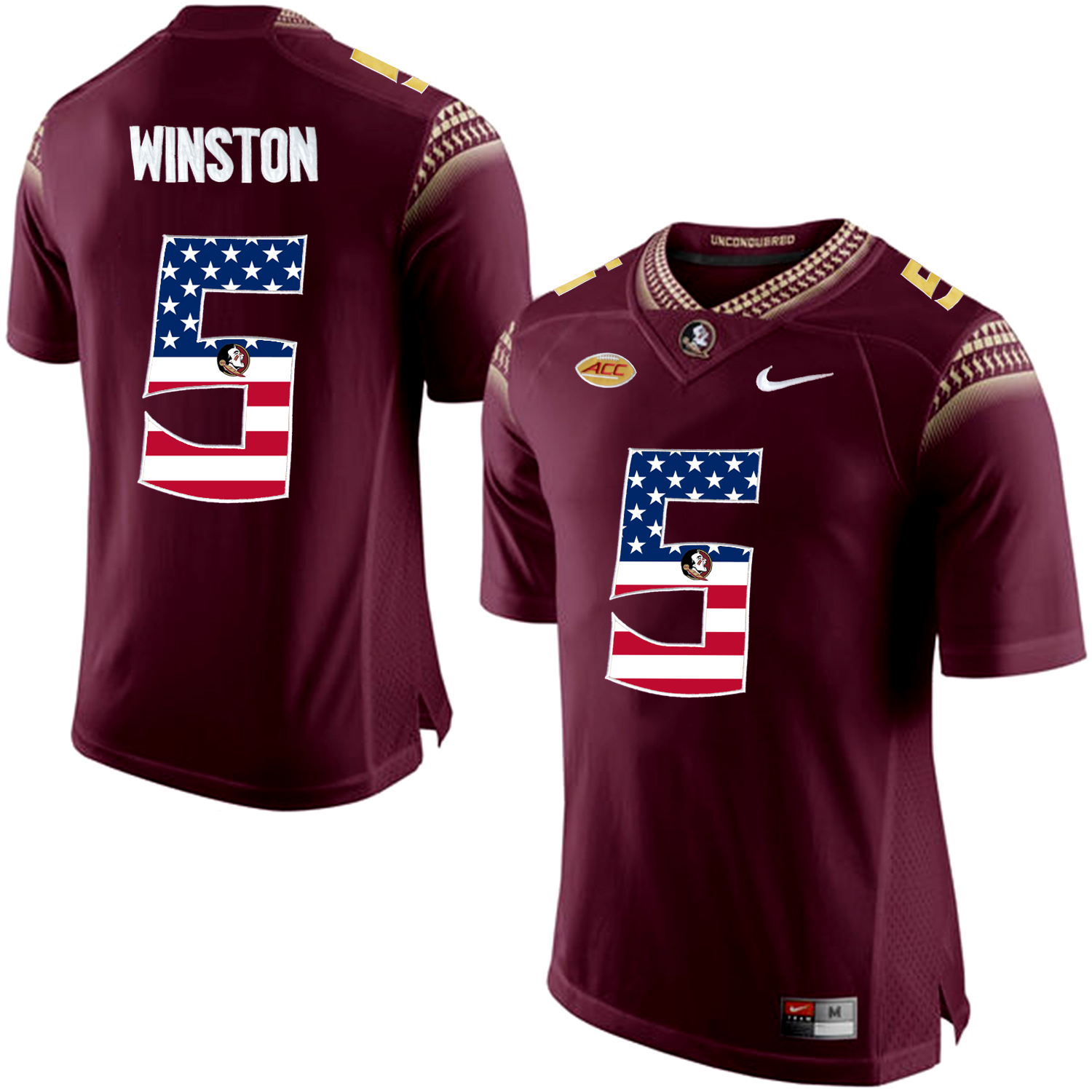 US Flag Fashion Men Florida State Seminoles Jameis Winston 5 College Football Limited Jersey Red