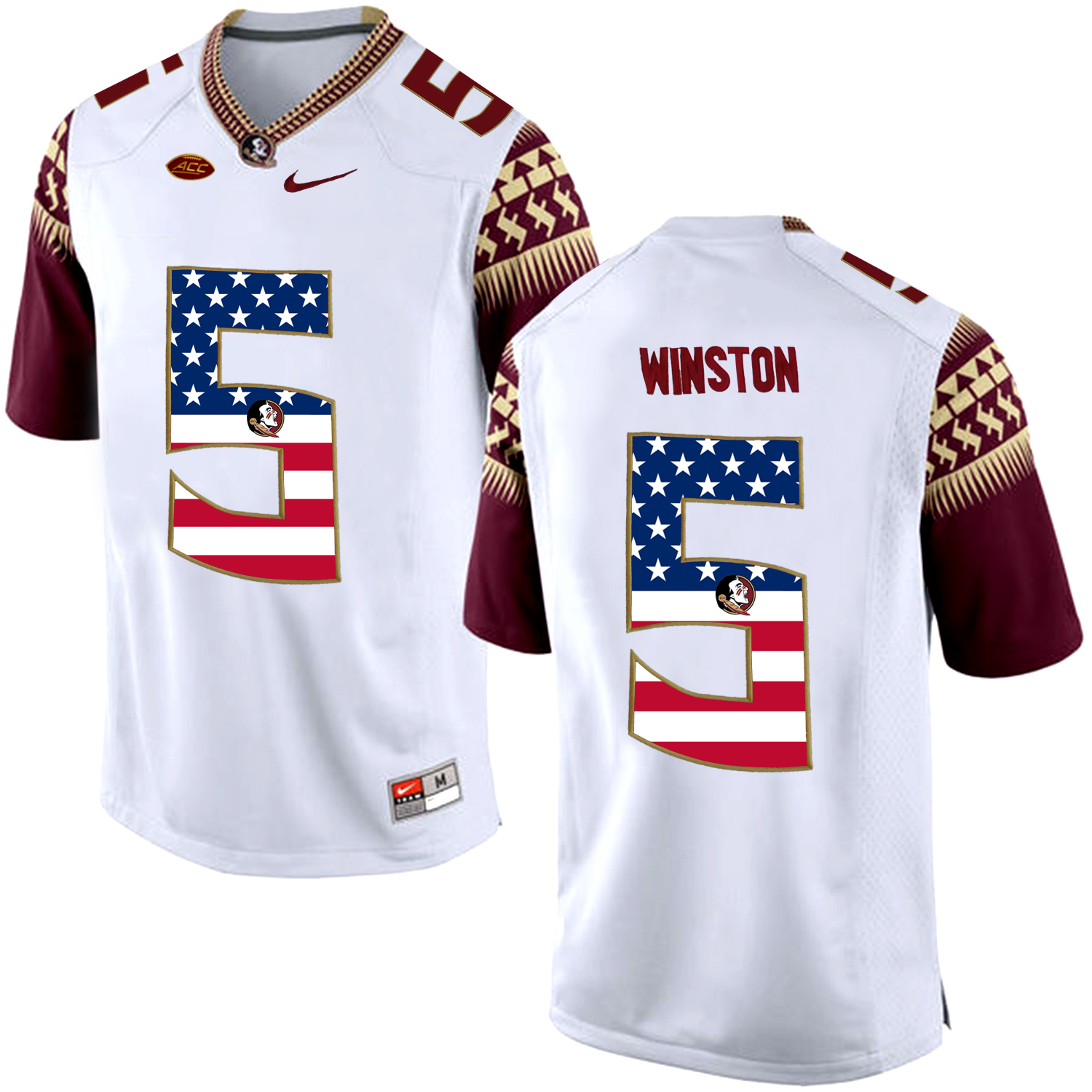 US Flag Fashion Men Florida State Seminoles Jameis Winston 5 College Football Limited Jersey White
