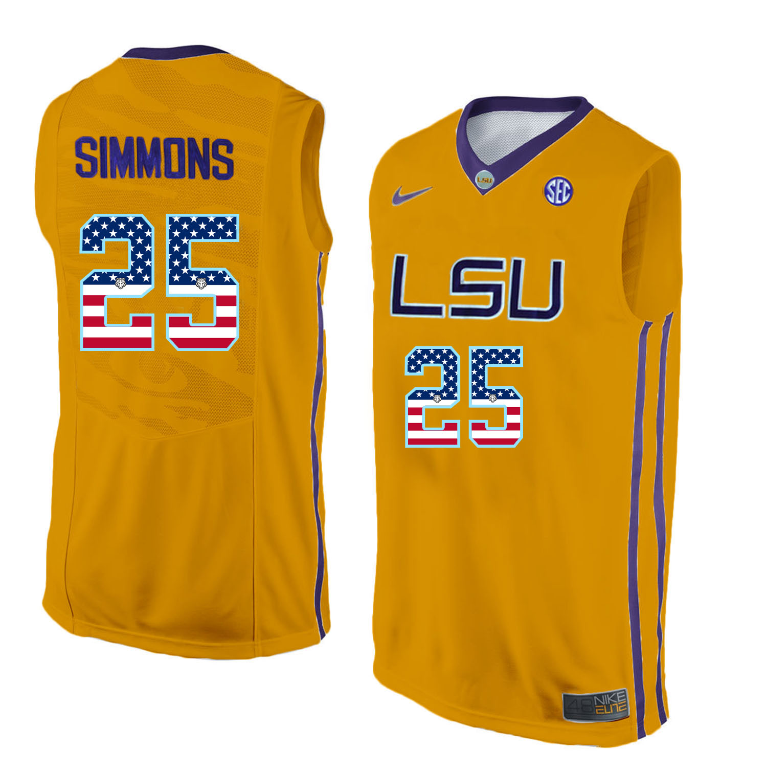 US Flag Fashion Men LSU Tigers Ben Simmons 25 College Basketball Elite Jersey Gold