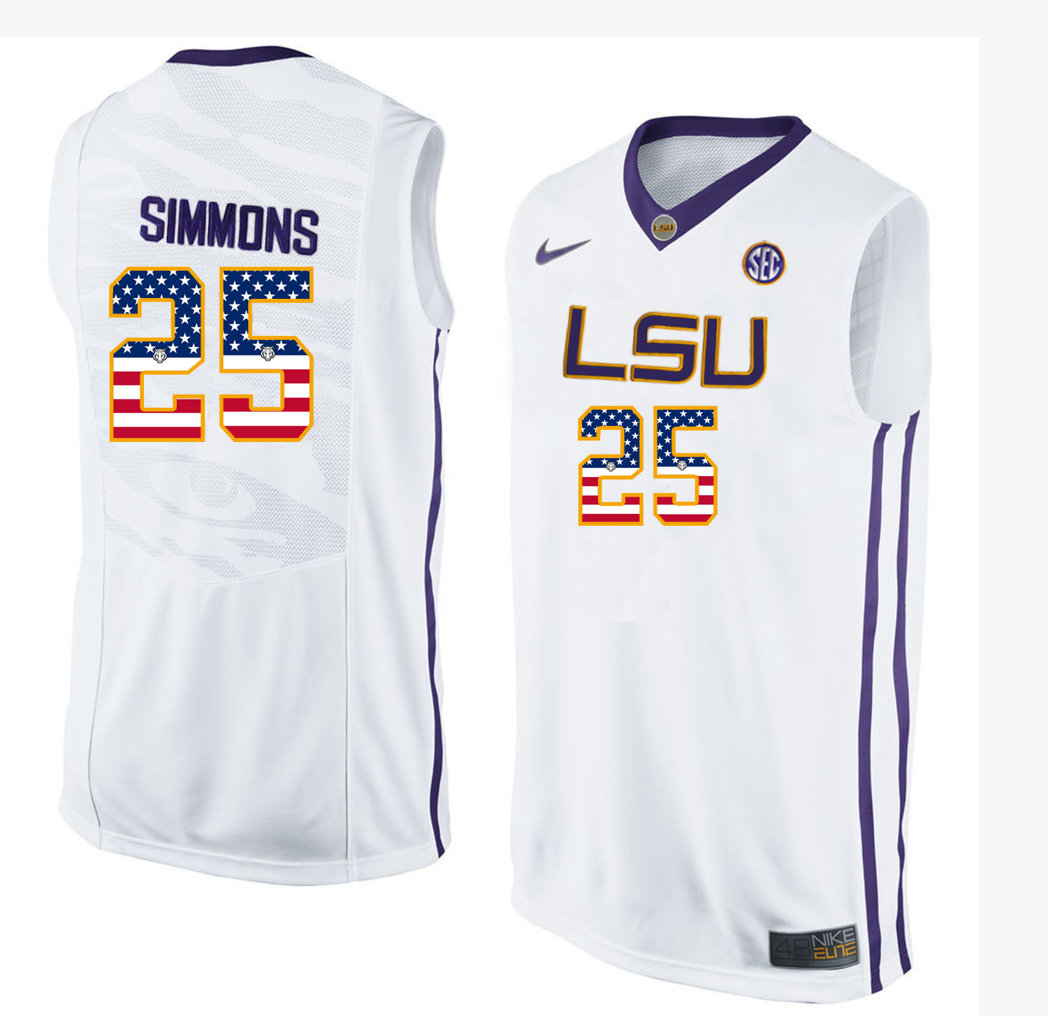 US Flag Fashion Men LSU Tigers Ben Simmons 25 College Basketball Elite Jersey White