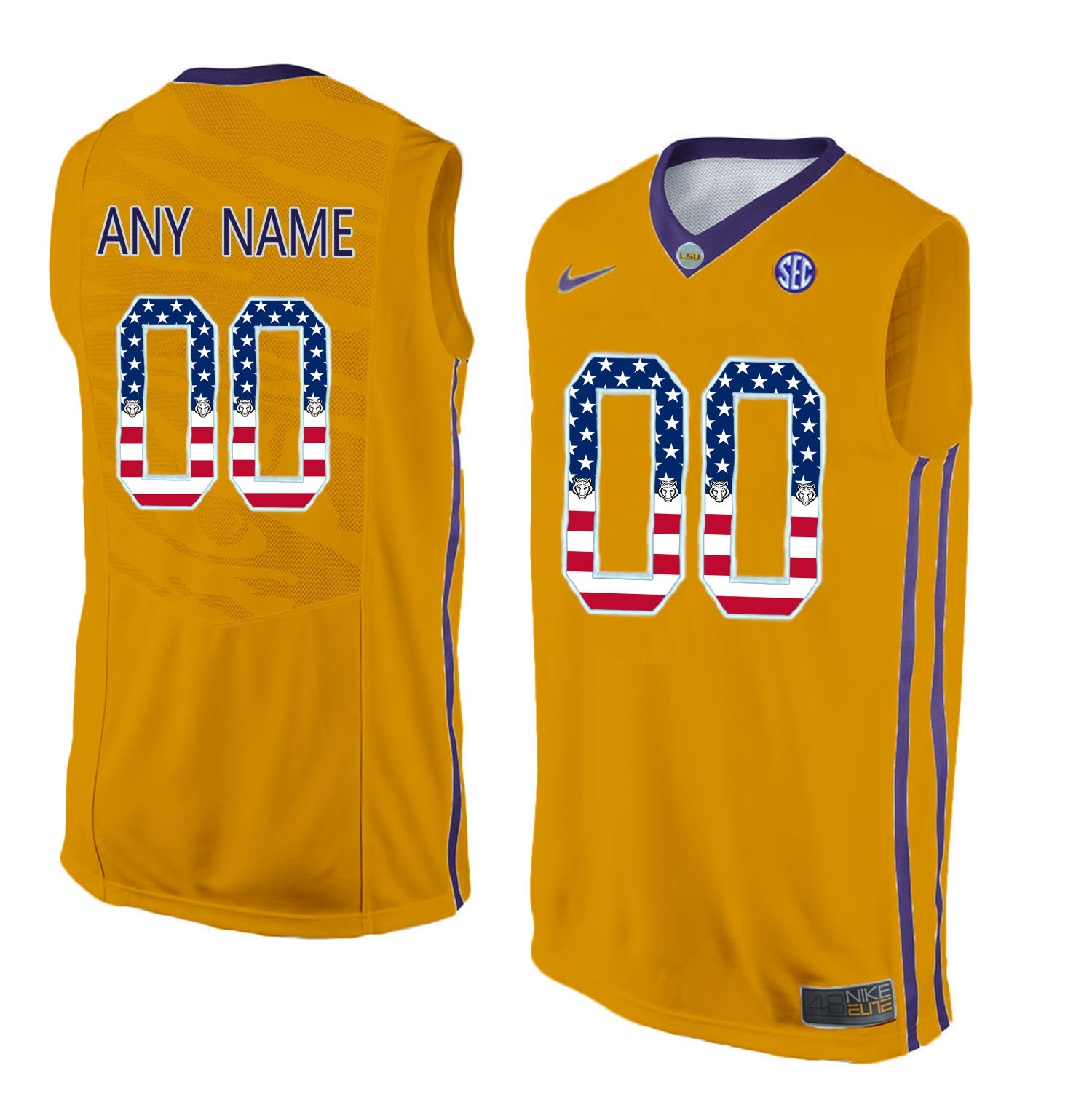 US Flag Fashion Men LSU Tigers Customized College Basketball Elite Jersey Gold