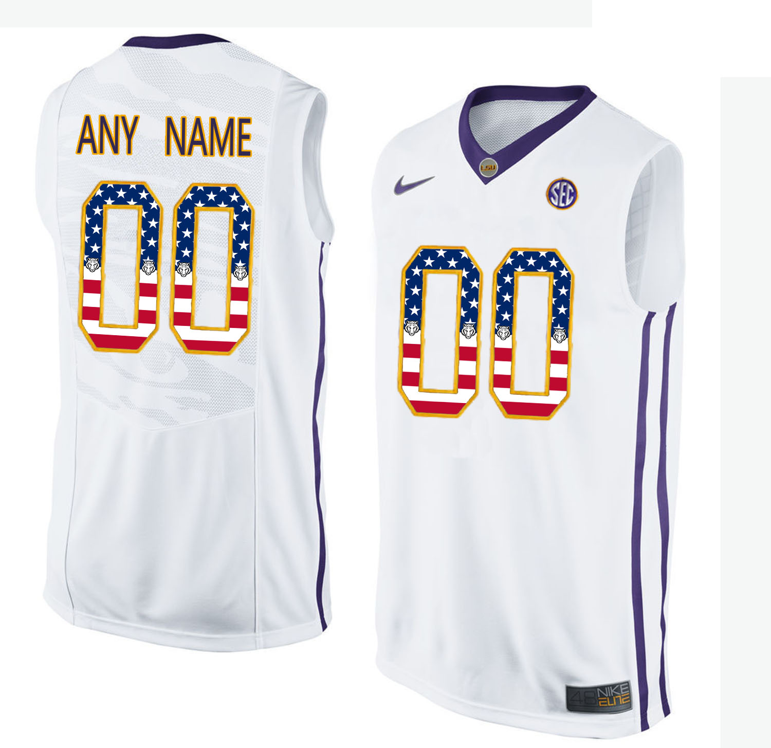 US Flag Fashion Men LSU Tigers Customized College Basketball Elite Jersey White