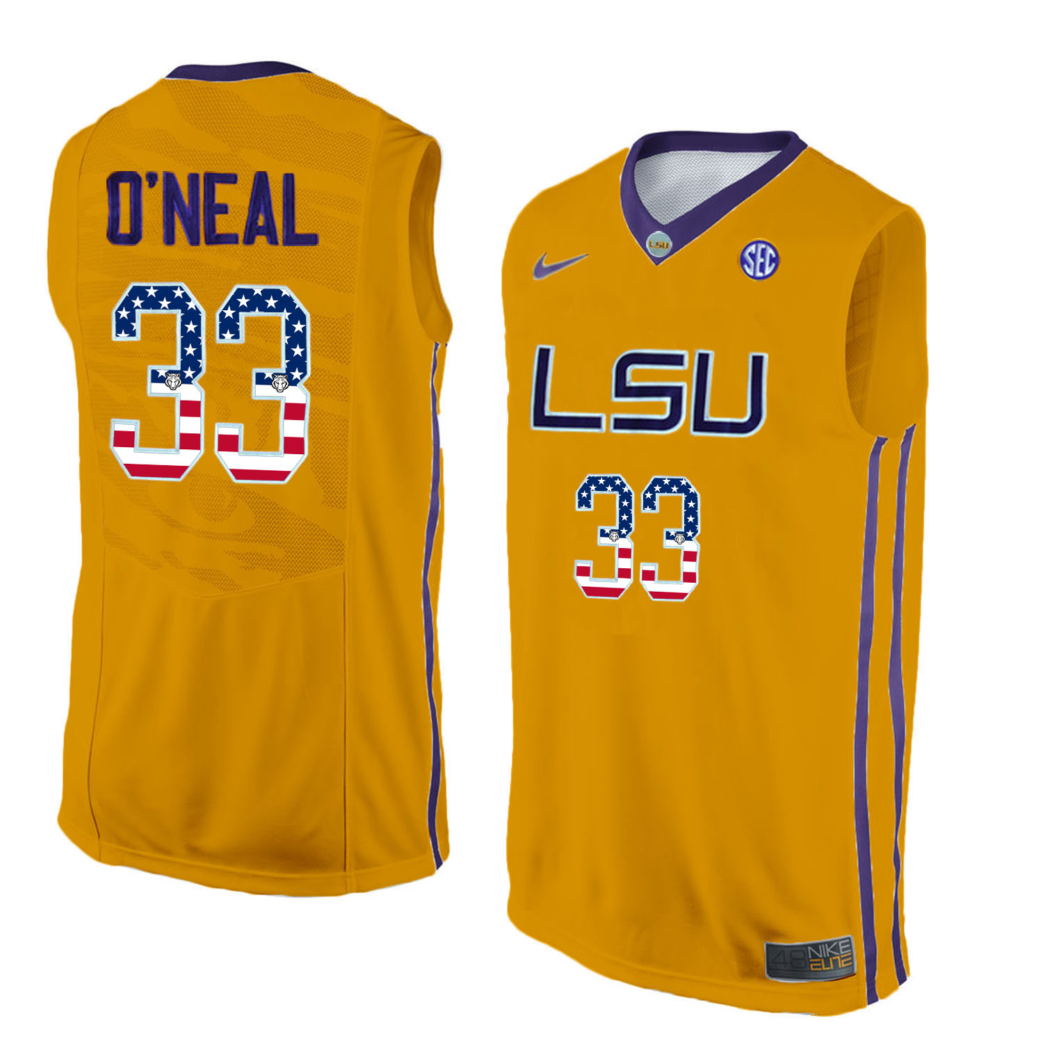US Flag Fashion Men LSU Tigers Shaquille O'Neal 33 College Basketball Elite Jersey Gold