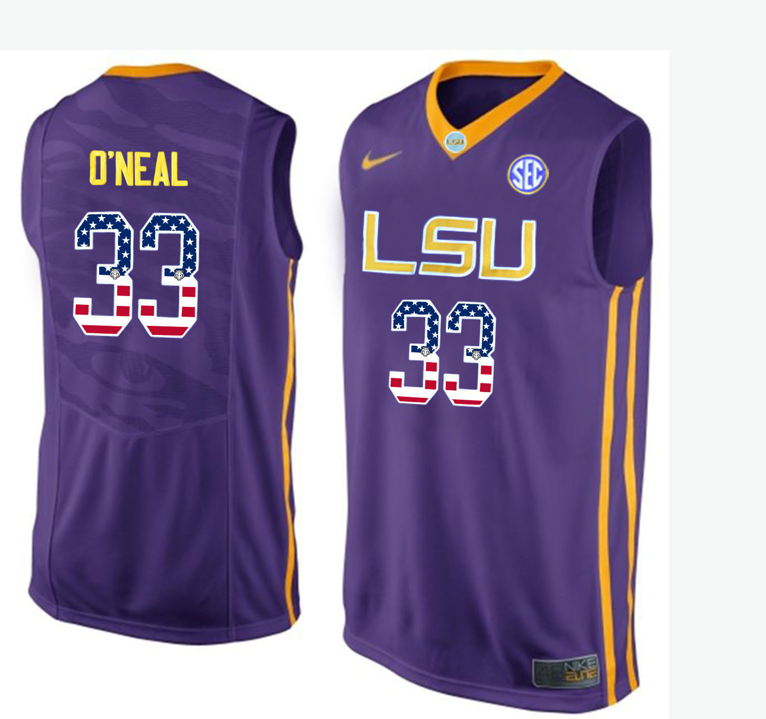 US Flag Fashion Men LSU Tigers Shaquille O'Neal 33 College Basketball Elite Jersey Purple