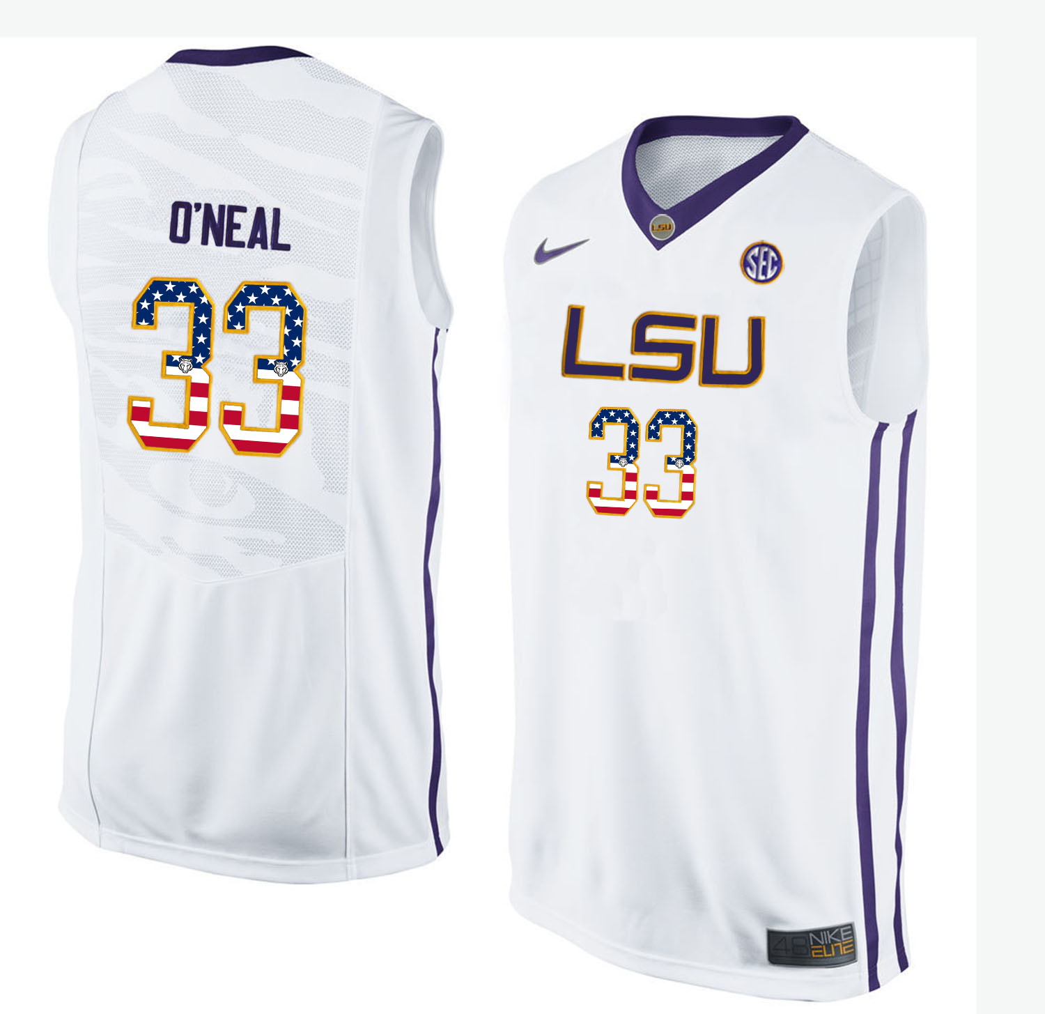 US Flag Fashion Men LSU Tigers Shaquille O'Neal 33 College Basketball Elite Jersey White