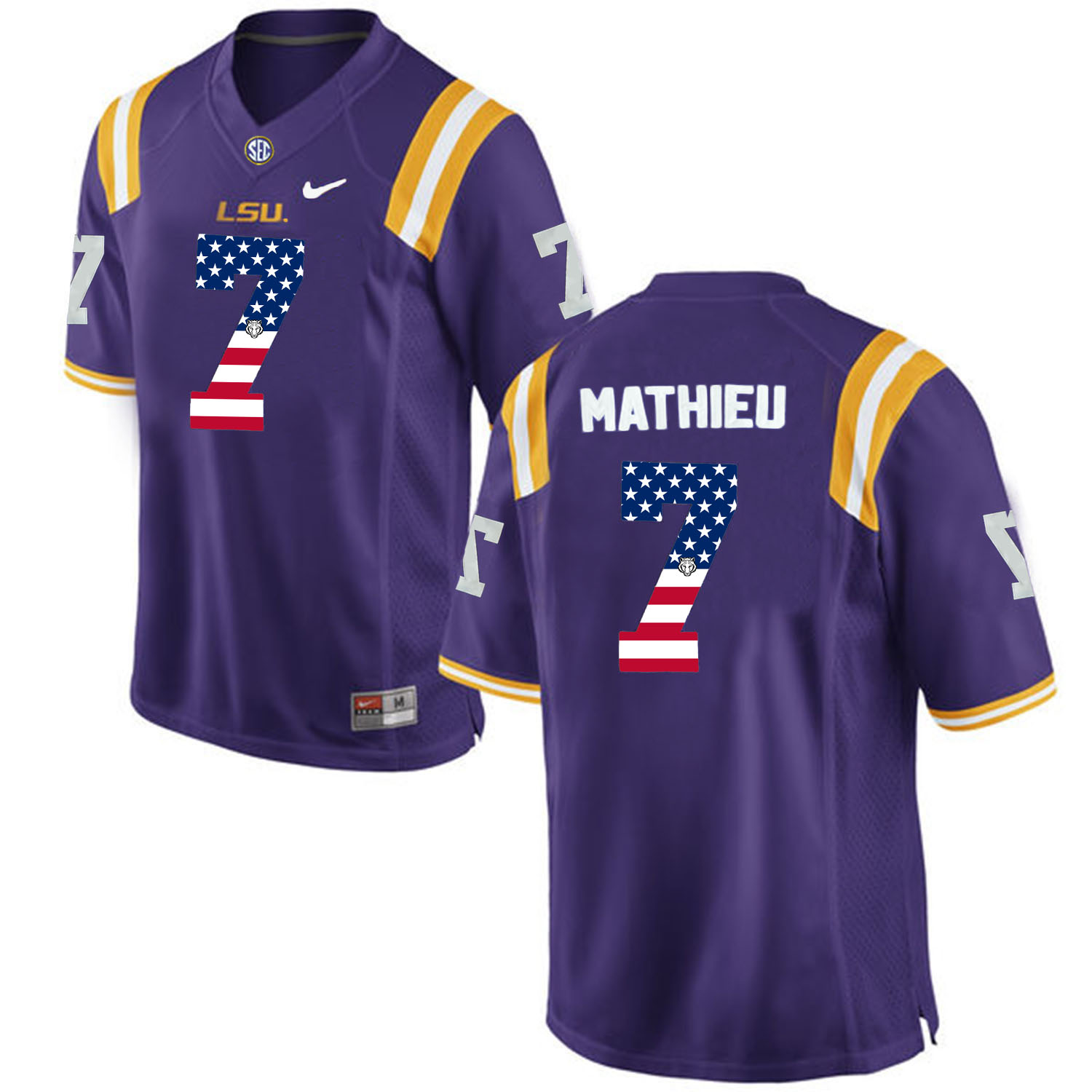 US Flag Fashion Men LSU Tigers Tryann Mathieu 7 College Football Limited Jersey Purple