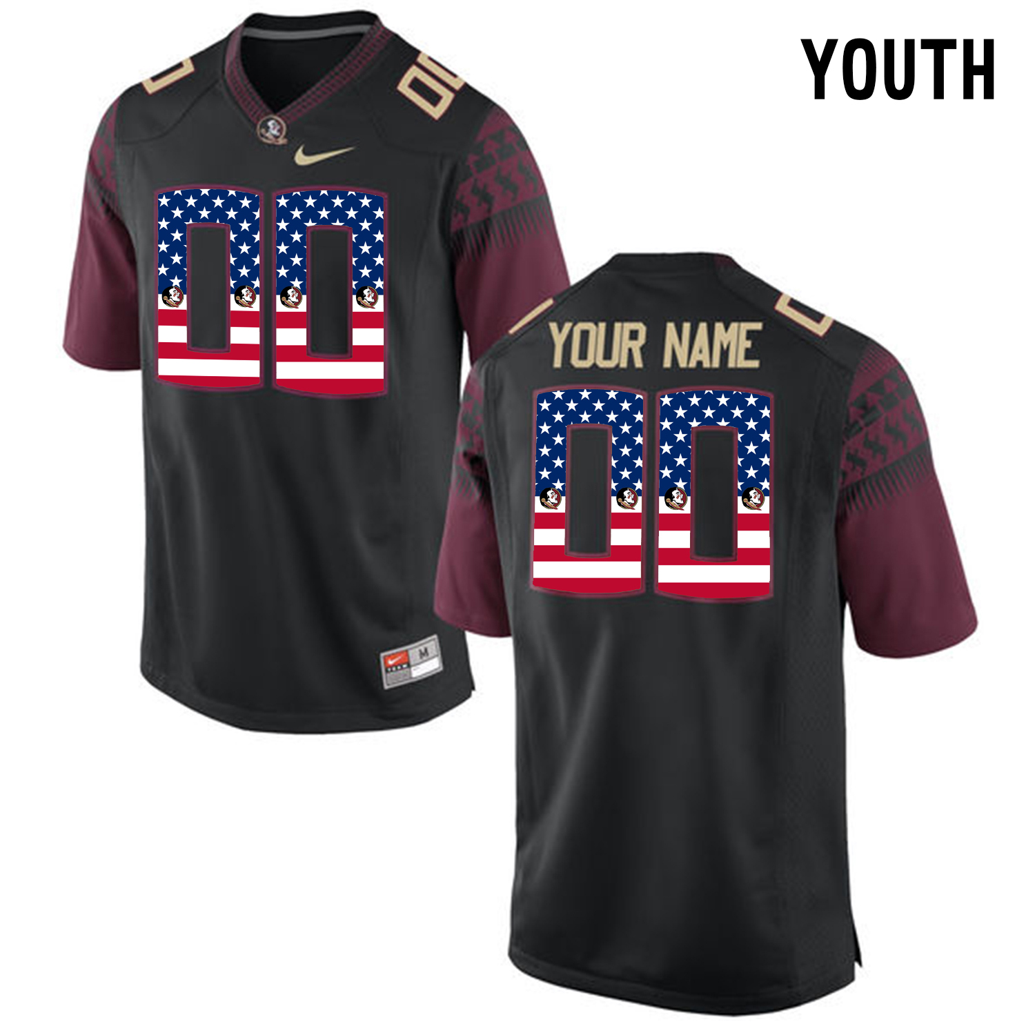 US Flag Fashion Youth Florida State Seminoles Customized College Football Limited Jersey Black