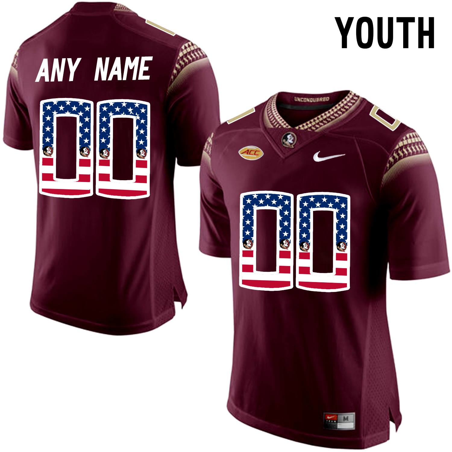 US Flag Fashion Youth Florida State Seminoles Customized College Football Limited Jersey Red