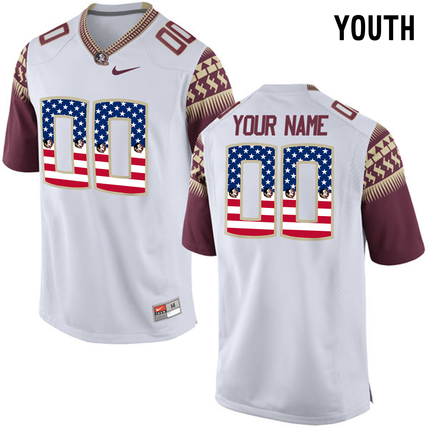 US Flag Fashion Youth Florida State Seminoles Customized College Football Limited Jersey White