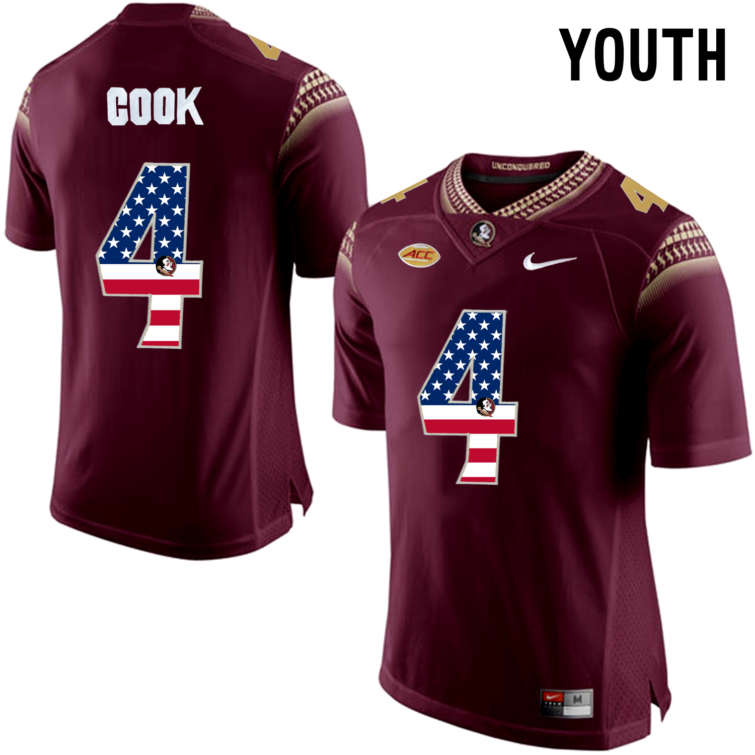 US Flag Fashion Youth Florida State Seminoles Dalvin Cook 4 College Football Limited Jersey Red