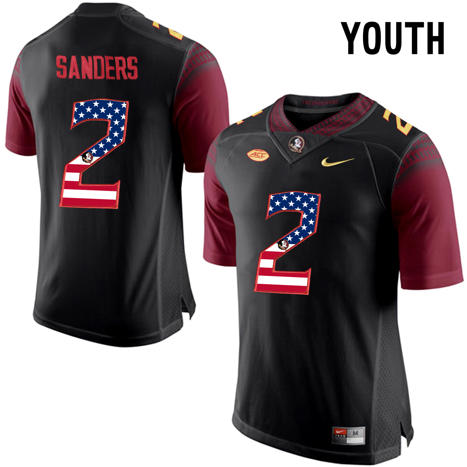 US Flag Fashion Youth Florida State Seminoles Deion Sanders 2 College Football Limited Jersey Black
