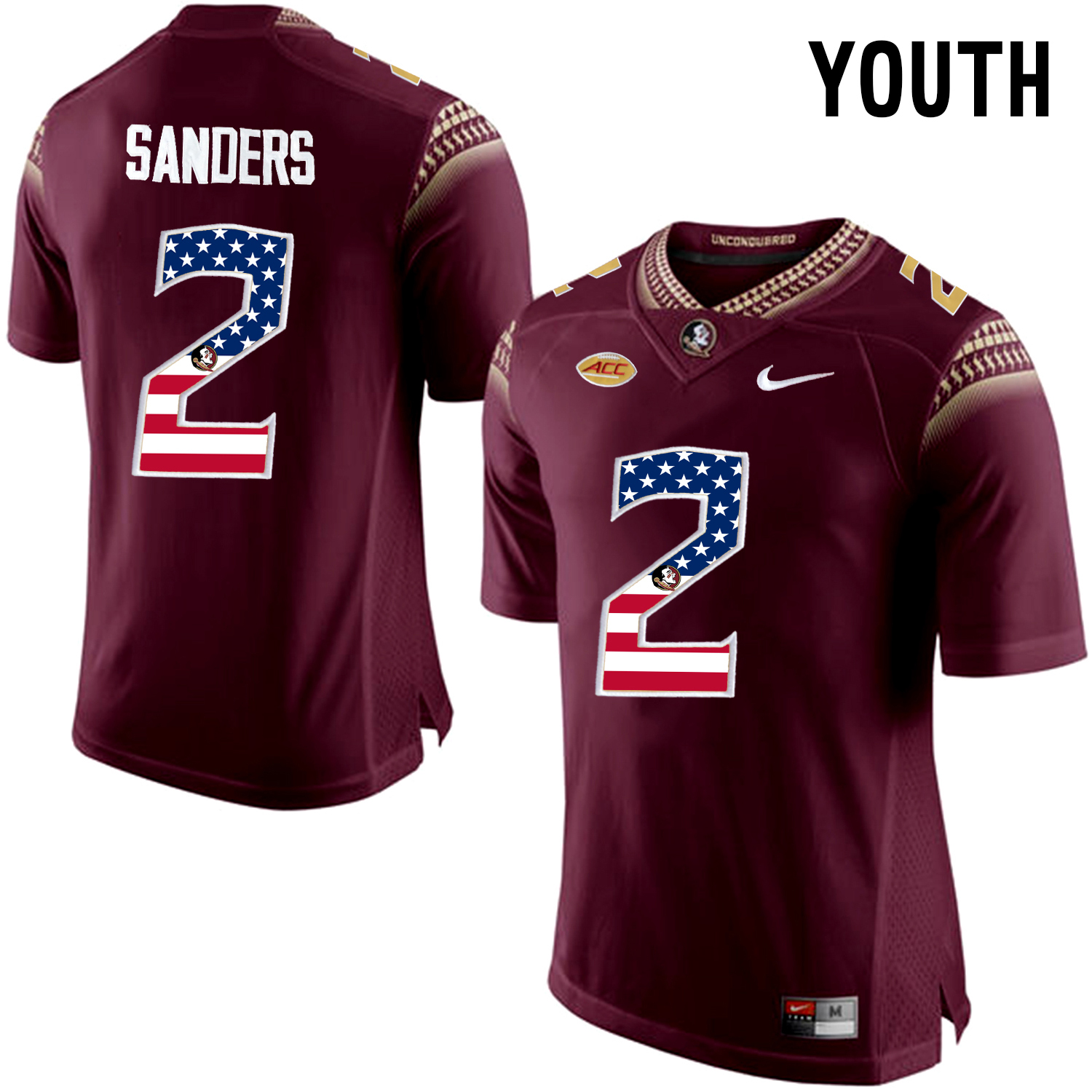 US Flag Fashion Youth Florida State Seminoles Deion Sanders 2 College Football Limited Jersey Red