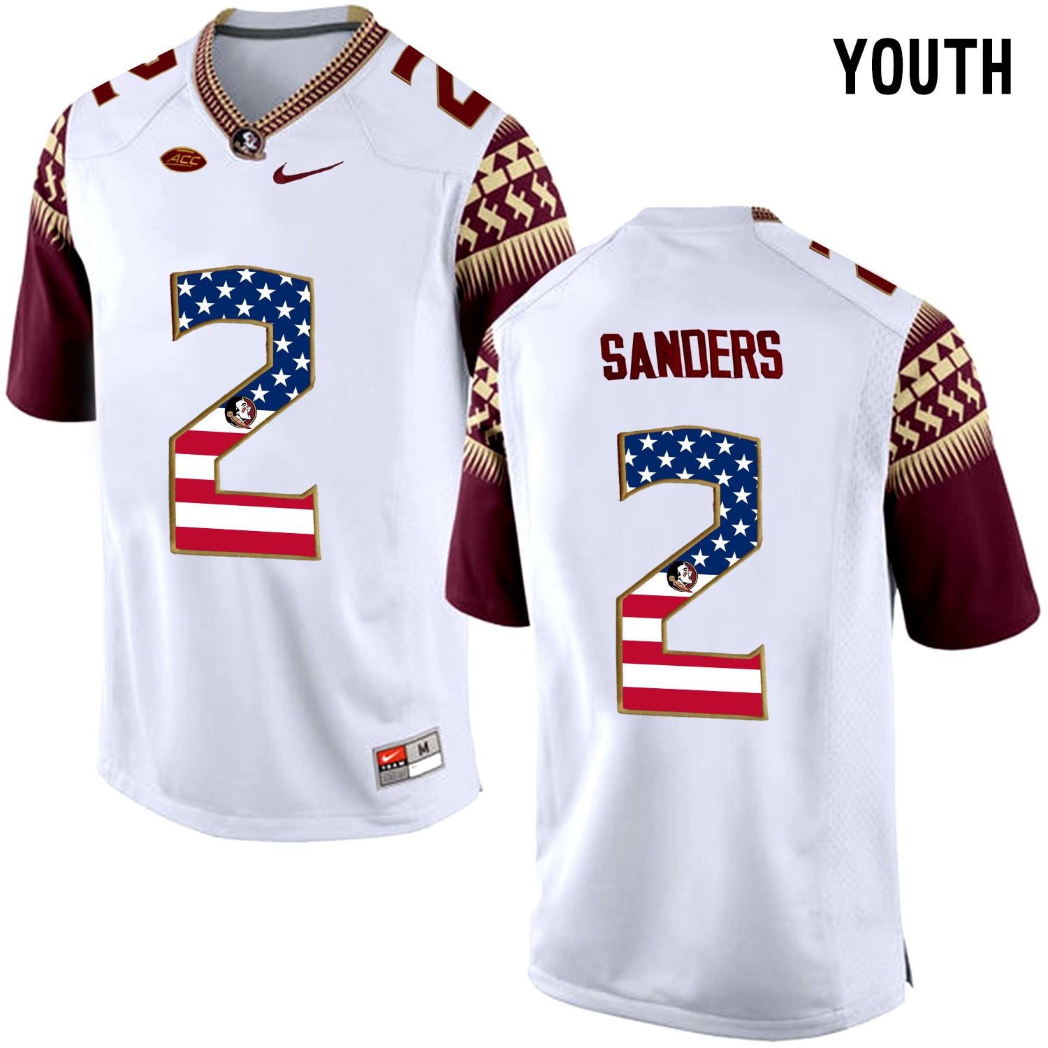 US Flag Fashion Youth Florida State Seminoles Deion Sanders 2 College Football Limited Jersey White