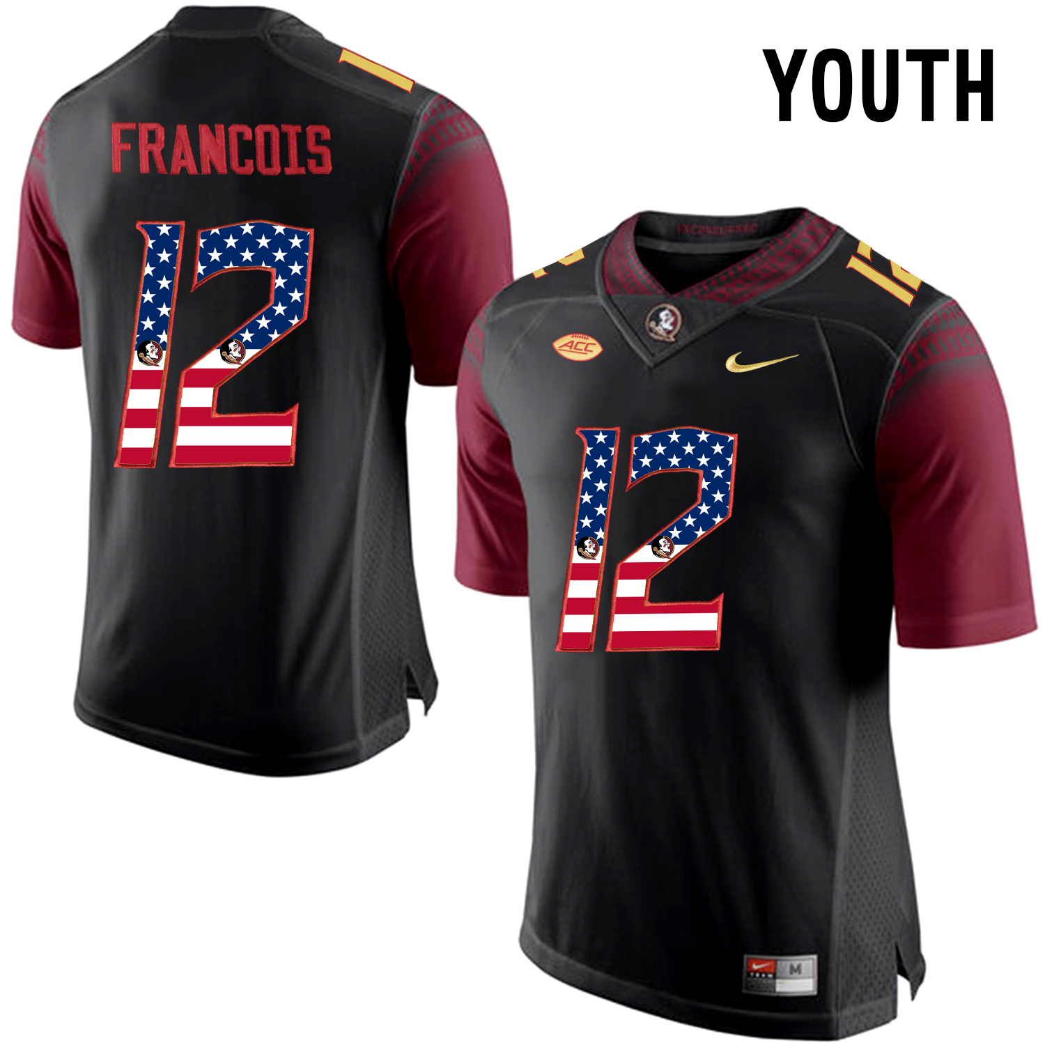 US Flag Fashion Youth Florida State Seminoles Deondre Francois 12 College Football Jersey Black