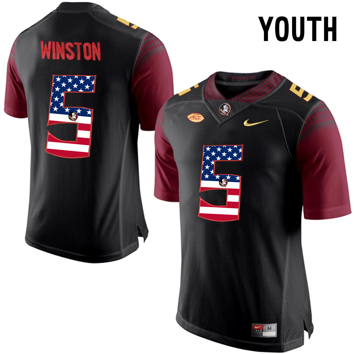 US Flag Fashion Youth Florida State Seminoles Jameis Winston 5 College Football Limited Jersey Black