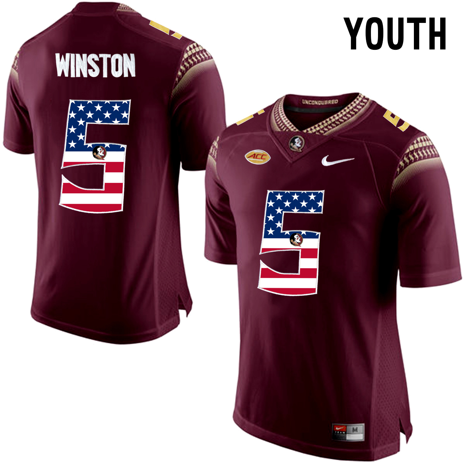 US Flag Fashion Youth Florida State Seminoles Jameis Winston 5 College Football Limited Jersey Red