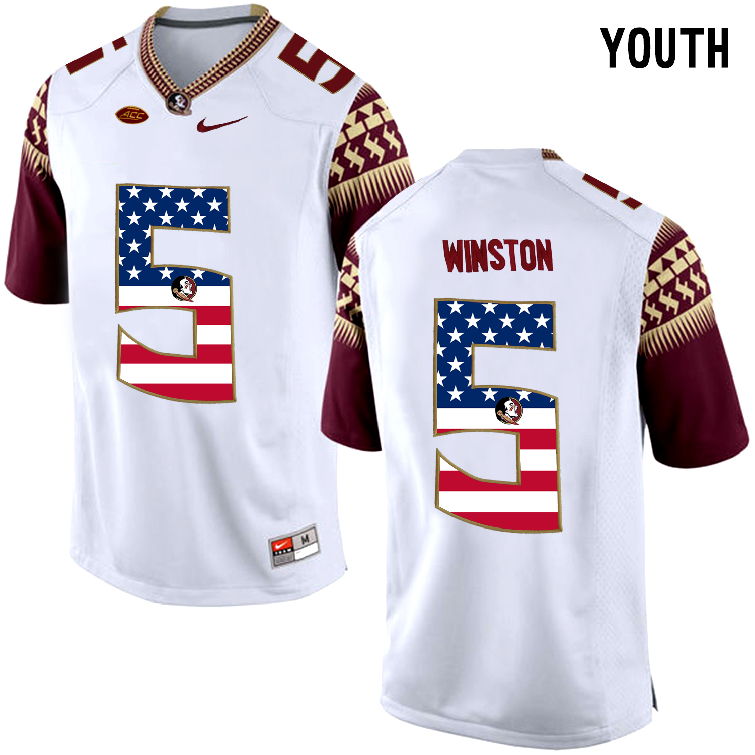 US Flag Fashion Youth Florida State Seminoles Jameis Winston 5 College Football Limited Jersey White