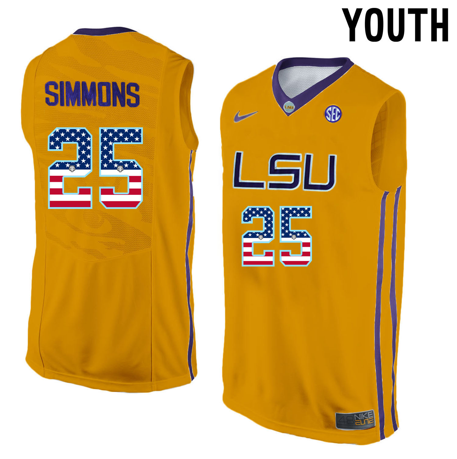US Flag Fashion Youth LSU Tigers Ben Simmons 25 College Basketball Elite Jersey Gold