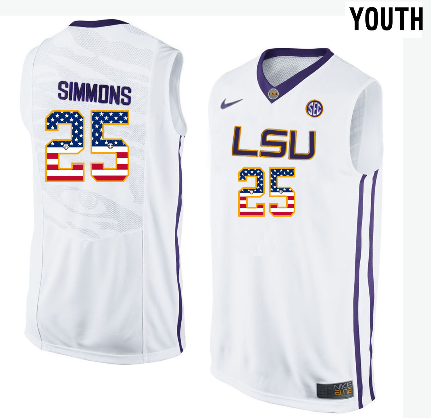 US Flag Fashion Youth LSU Tigers Ben Simmons 25 College Basketball Elite Jersey White