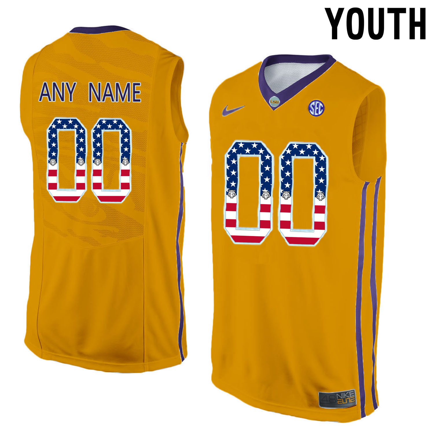 US Flag Fashion Youth LSU Tigers Customized College Basketball Elite Jersey Gold